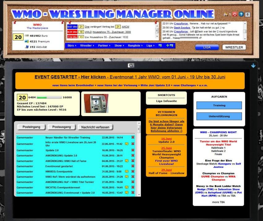WMO: Wrestling Manager Online seit einem Jahr online: Eventmonat, großes Update und erste Liveshow